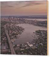 Aerial Seattle View Along Interstate 5 Wood Print