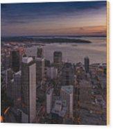 Aerial Seattle Westward View Wood Print