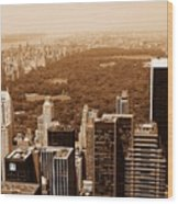 Aerial View Central Park Wood Print