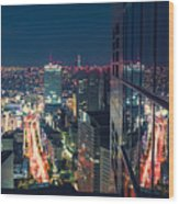 Aerial View Cityscape At Night In Tokyo Japan From A Skyscraper Wood Print