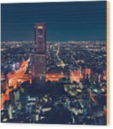 Aerial View Cityscape At Night In Tokyo Japan Wood Print