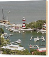 Aerial View Harbour Town Lighthouse In Hilton Head Island Wood Print