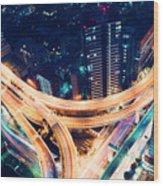 Aerial-view Highway Junction At Night In Tokyo Japan Wood Print