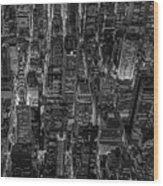 Aerial View Midtown Manhattan Nyc Bw Wood Print