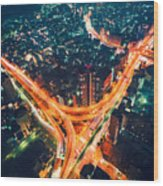 Aerial View Of A Massive Highway Intersection In Tokyo Wood Print