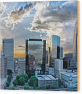 Aerial View Of Charlotte City Skyline At Sunset Wood Print