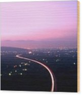 Aerial View Of Highway At Dusk Wood Print