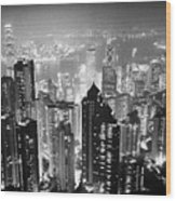 Aerial View Of Hong Kong Island At Night From The Peak Hksar China Wood Print