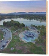 Aerial View Of Lake Balboa Park  Wood Print