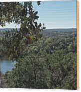 Aerial View Of Large Forest And Lake Wood Print