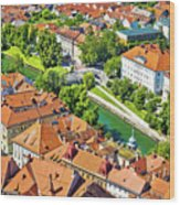 Aerial View Of Ljubljana Green River Wood Print