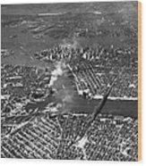 Aerial View Of Lower Manhattan Wood Print