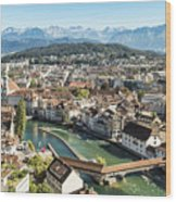Aerial View Of Lucerne In Switzerland.  Wood Print