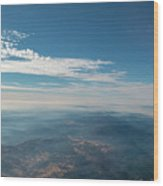 Aerial View Of Mountain Formation With Low Clouds During Daytime Wood Print