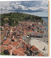 Aerial View Of Piran Slovenia On The Adriatic Sea Coast With Har Wood Print