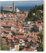 Aerial View Of Piran Slovenia With St George's Cathedral On The  Wood Print