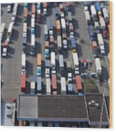 Aerial View Of Semi Trucks At Port Wood Print by Don Mason