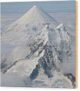 Aerial View Of Shishaldin Volcano Wood Print by Richard Roscoe