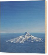 Aerial View Of Snowy Mountain Wood Print