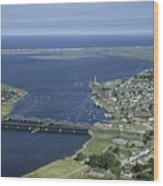 Aerial View Of The Mouth Of Merrimack Wood Print