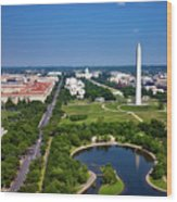 Aerial View Of The National Mall And Washington Monument Wood Print