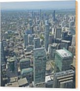 Aerial View Of Toronto Looking North Wood Print