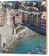 Aerial View Of Vernazza, Cinque Terre, Liguria, Italy Wood Print