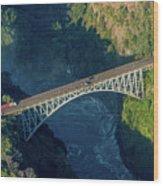 Aerial View Of Victoria Falls Suspension Bridge Wood Print