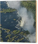 Aerial View Of Victoria Falls With Bridge Wood Print