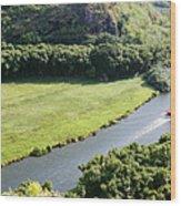 aerial view of Wailua River Wood Print