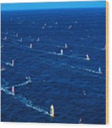 Aerial View Of Windsurfer Wood Print