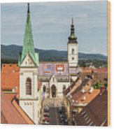 Aerial View Of Zagreb In Croatia Wood Print