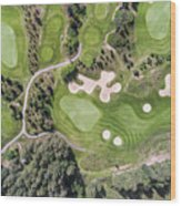 Aerial View Over Golf Field In Poland. Summer Time. Wood Print