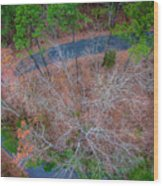 Aerial View Over Wooded Forest And Road Wood Print