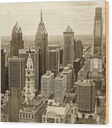 Aerial View Philadelphia Skyline Wth City Hall Wood Print