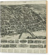 Aero View Of Watertown, Connecticut  Wood Print