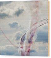 Aerobatic Group Formation  At Blue Sky Wood Print