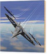 Aerobatics Over Water Wood Print