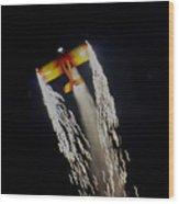 Aerobatics With Firework Wood Print