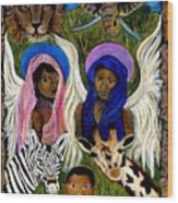 African Angels Wood Print by The Art With A Heart By Charlotte Phillips