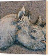 African Black Rhino Wood Print