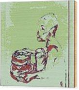 African Boy Blue Wood Print by Sheri Buchheit
