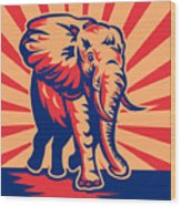 African Bull Elephant Charging Retro Wood Print by Aloysius Patrimonio