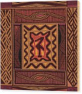 African Collage Rust Wood Print