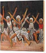 African Dancers Wood Print by Pilar  Martinez-Byrne