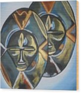 African Double Mask Wood Print