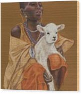 African Girl With Lamb Wood Print