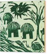 African Huts Wood Print by Caroline Street