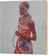 African Lady In Red Wood Print