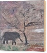 African Landscape Baby Elephant And Banya Tree At Watering Hole With Mountain And Sunset Grasses Shr Wood Print